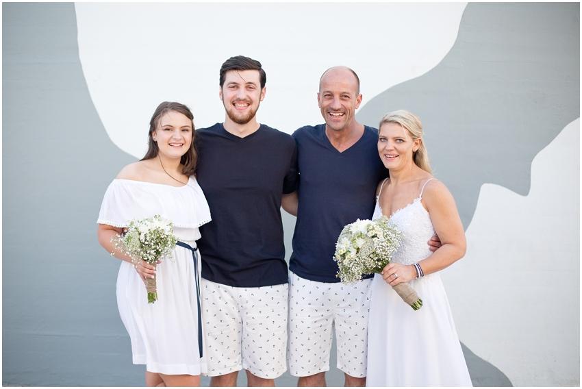 Beach wedding family